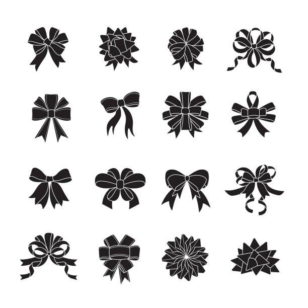 flat ribboon bow icon set. - tied bow stock illustrations