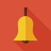 Flat Ringing Bell Illustration with long Shadow