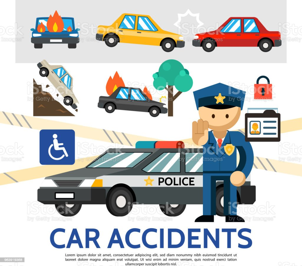 Flat Road Accident Template - Royalty-free Accidental Death stock vector