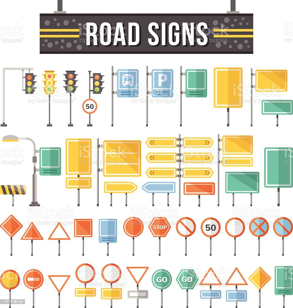 Flat road signs set. Traffic signs graphic elements vector art illustration