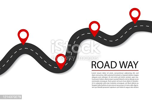 Flat road with pins.Highway for route of journey on isolated background. Asphalt street for infographic. Design traffic trip template. Winding street with points banner. Design vector illustration