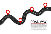 istock Flat road with pins.Highway for route of journey on isolated background. Asphalt street for infographic. Design traffic trip template. Winding street with points banner. Design vector illustration. 1214370279