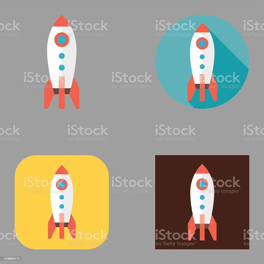 Flat Rocket icons | Kalaful series vector art illustration