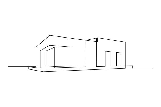 Flat roof building Modern flat roof house or commercial building in continuous line art drawing style. Minimalist black linear sketch isolated on white background. Vector illustration architecture icons stock illustrations