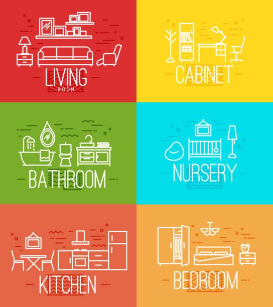 flache zimmer ausstattung - waschküchendekorationen stock-grafiken, -clipart, -cartoons und -symbole
