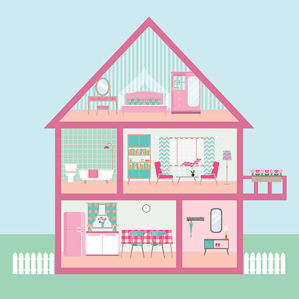 flat rose Dollhouse section with interior living room. vector illustration flat rose Dollhouse section with interior living room, functional attic, balcony. vector illustration dollhouse stock illustrations
