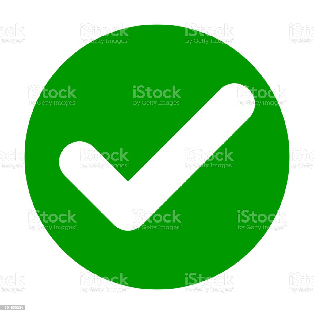 Flat round check mark green icon, button. Tick symbol isolated on white background.