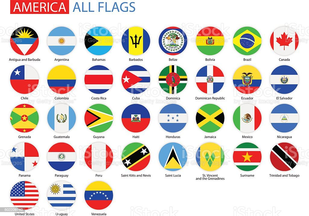 Flat Round Flags of America - Full Vector Collection vector art illustration