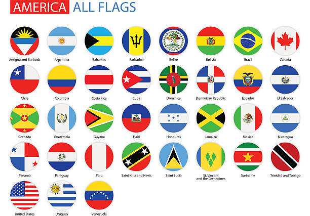 flache runde flags of america-vollständige vektor-kollektion - flagge chile stock-grafiken, -clipart, -cartoons und -symbole