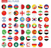 Flat Round Flags of Asia - Full Vector Collection
