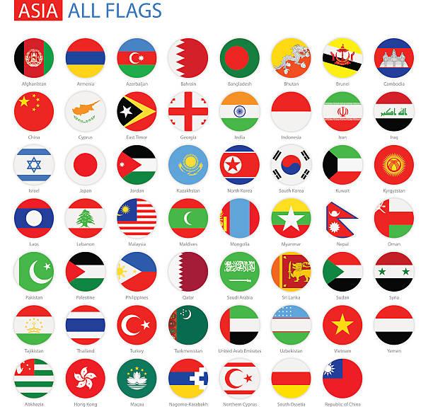 stockillustraties, clipart, cartoons en iconen met flat round flags of asia - full vector collection - indonesische vlag