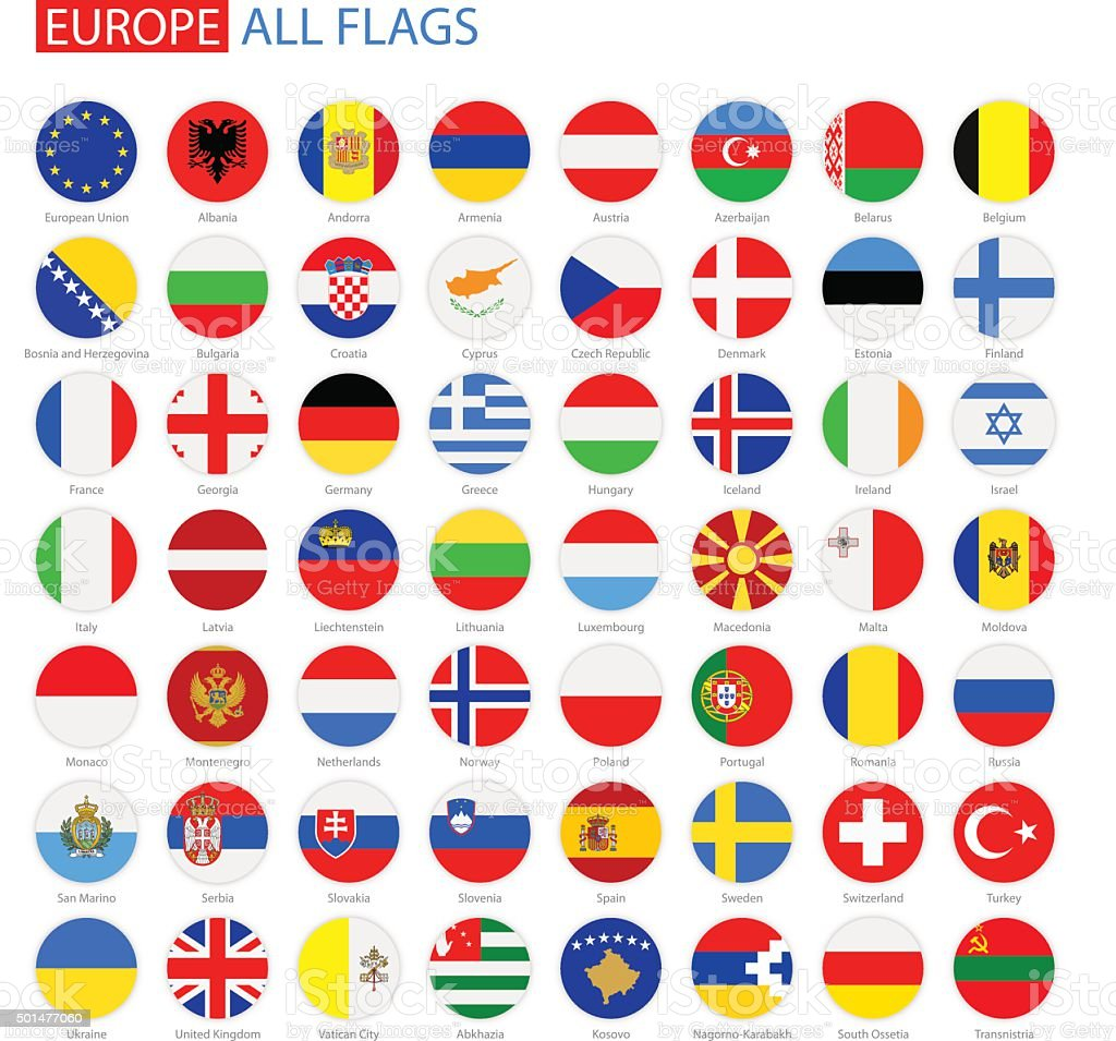 Flat Round Flags of Europe - Full Vector Collection vector art illustration