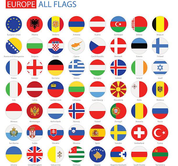 フラットな円形のフラッグ-完全ヨーロッパのベクトルコレクション - ロシアの国旗点のイラスト素材/クリップアート素材/マンガ素材/アイコン素材