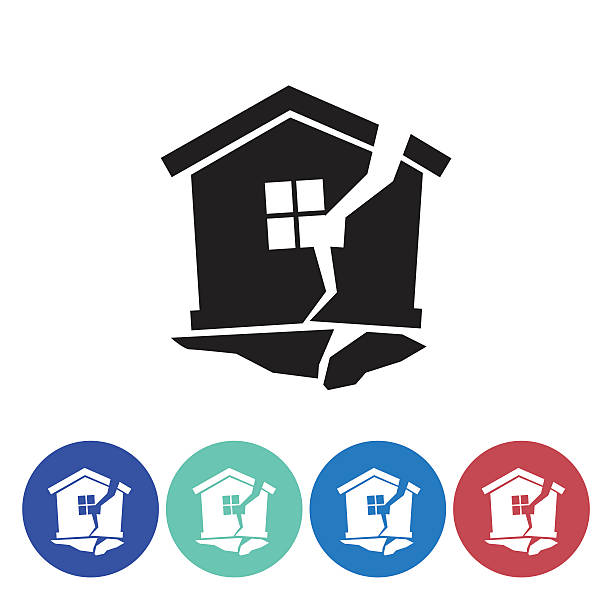 Flat Round Homeowners Insurance Icon Set Flat Round Homeowners Insurance Icon Set. Simple flat colored silhouette. Earthquake and shattered home. earthquake stock illustrations