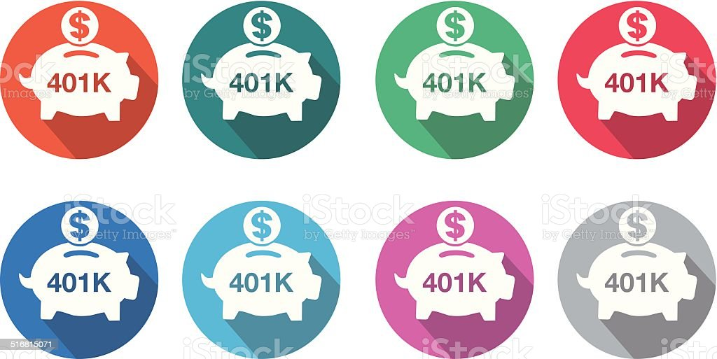 401K flat round icon set vector art illustration