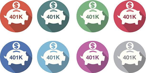 401K flat round icon set EPS 10 and JPEG 401k stock illustrations