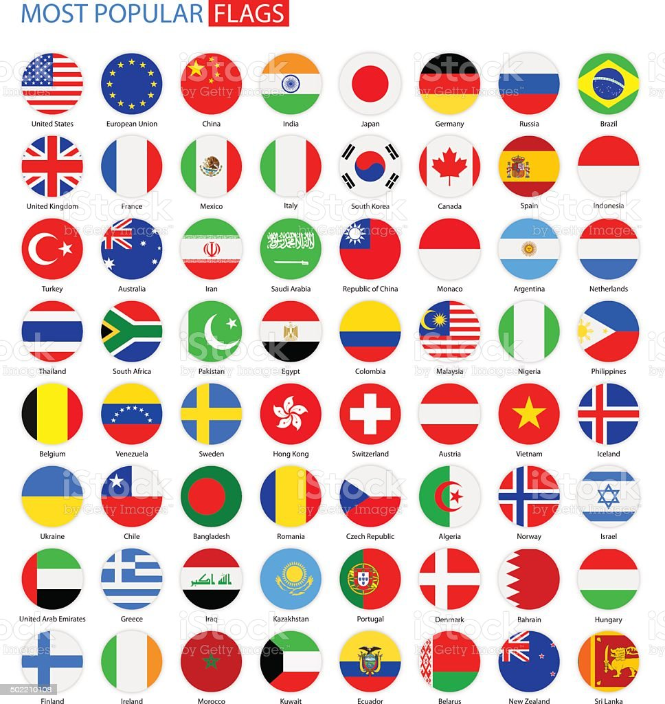 Flat Round Most Popular Flags - Vector Collection vector art illustration