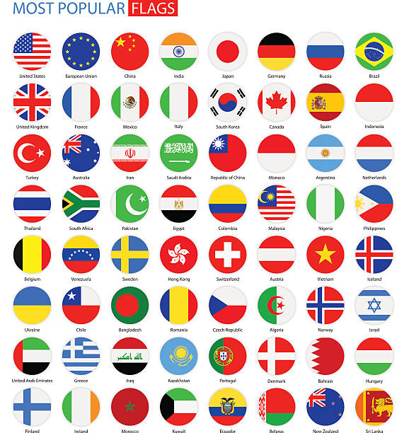 bildbanksillustrationer, clip art samt tecknat material och ikoner med flat round most popular flags - vector collection - brasilien flagga