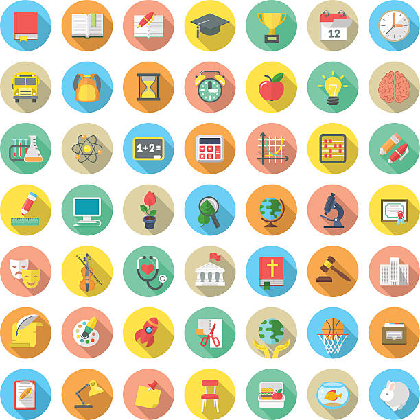 Flat Round School Subjects Icons with Long Shadows Set of modern flat round vector icons of school subjects, activities, education and science symbols in colorful circles with long shadows. Concepts for web site, mobile or computer apps, infographics topics stock illustrations