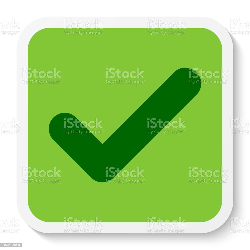 Flat Round Square Check Mark Icon Button Tick Symbol