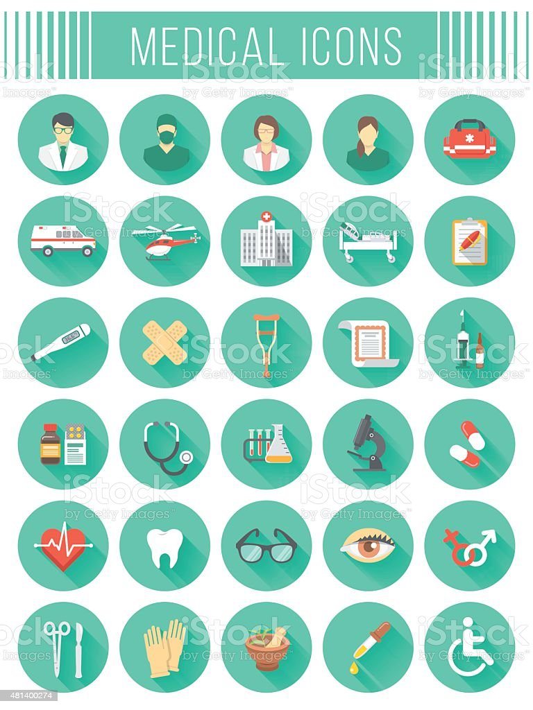 Flat round vector medical and healthcare icons with long shadows vector art illustration