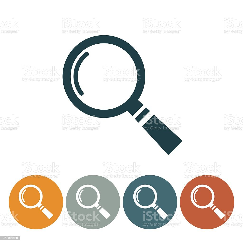 Flat Round Website Icons Magnifying Glass vector art illustration