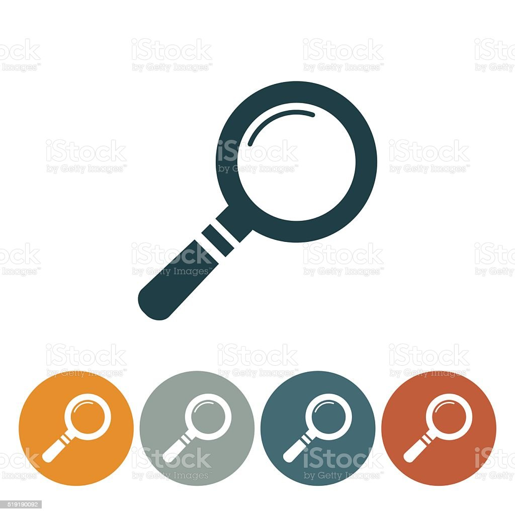 Flat Round Wedsite Icon - Magnifying Glass vector art illustration