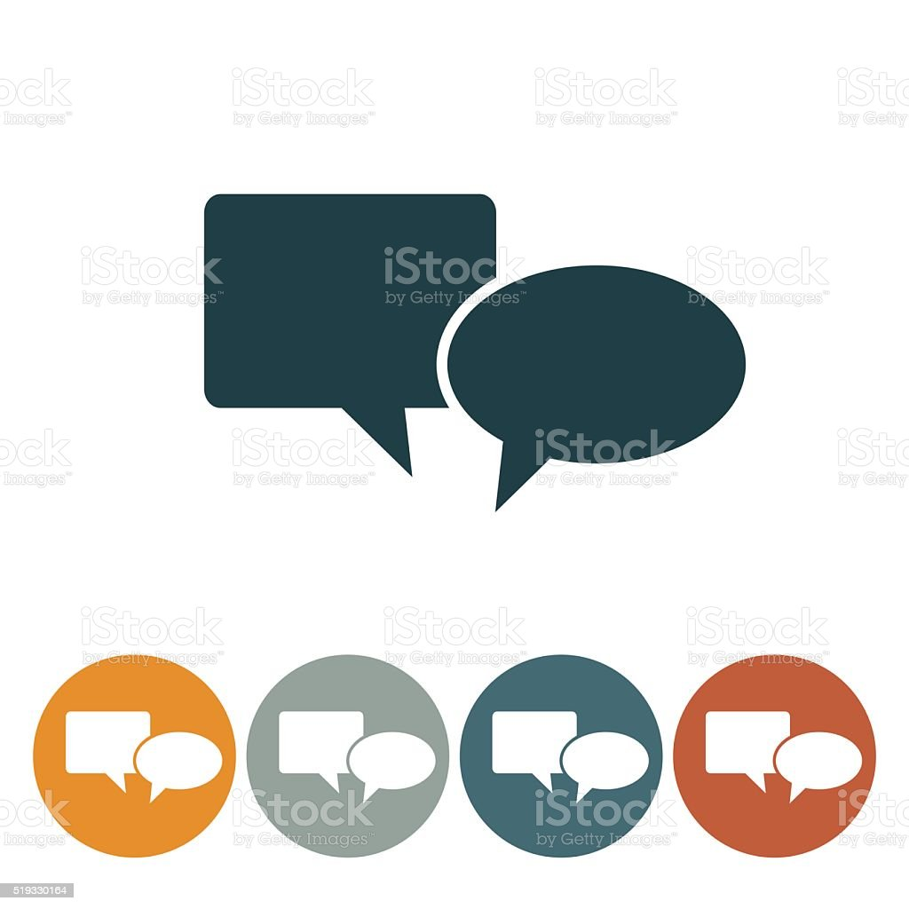 Flat Round Wedsite Icon - Speech Bubble vector art illustration