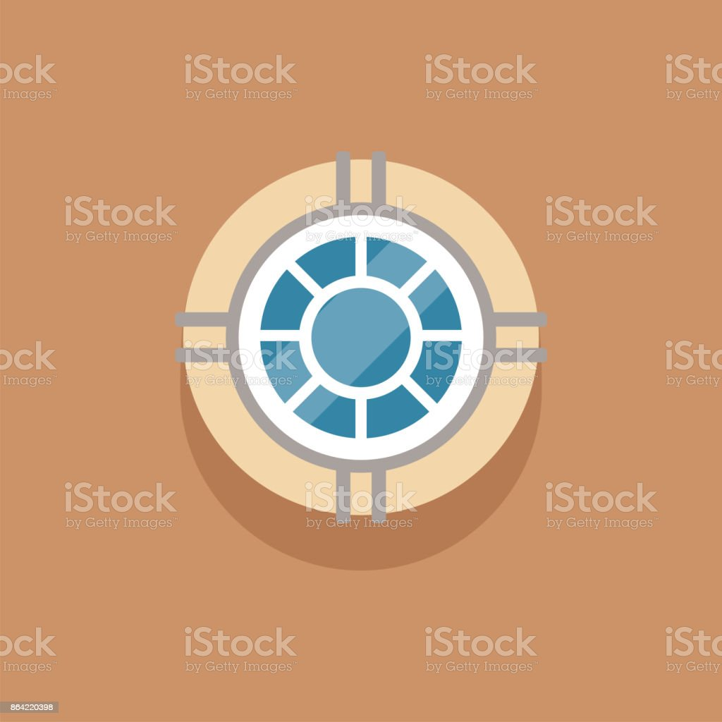 Flat round window to attic on brown wall royalty-free flat round window to attic on brown wall stock vector art & more images of art