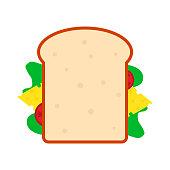 Flat sandwich icon on white background