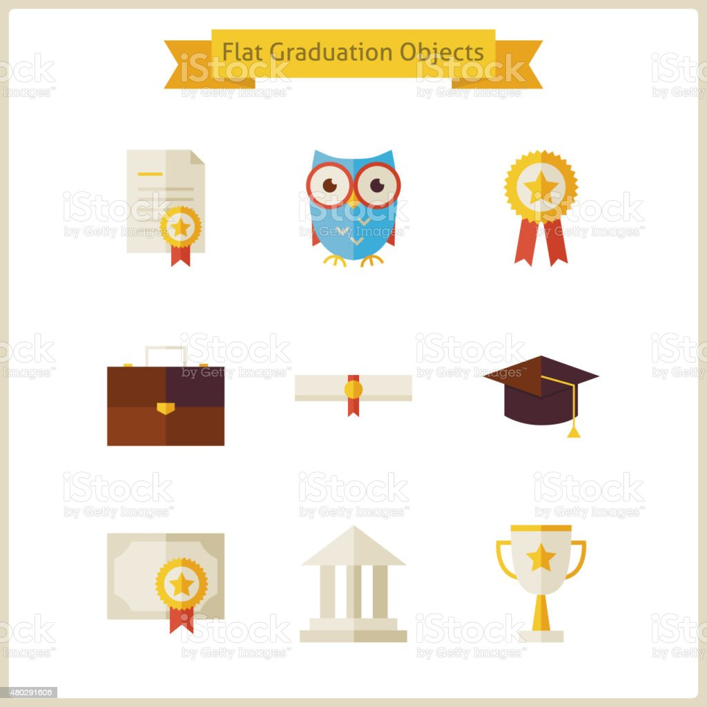 Escuela plana de graduación y éxito conjunto de objetos - ilustración de arte vectorial