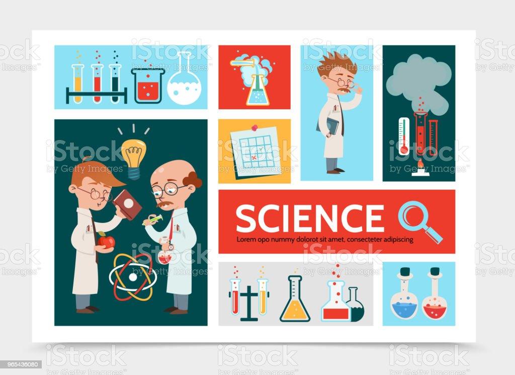 Flat Scientific Research Infographic Concept flat scientific research infographic concept - stockowe grafiki wektorowe i więcej obrazów atom royalty-free