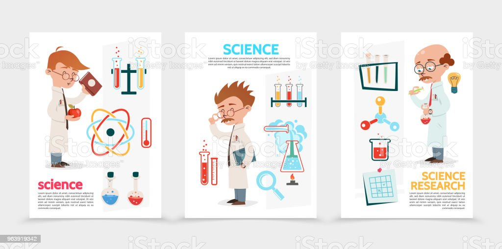 Flat Scientific Research Posters - Royalty-free Analyzing stock vector