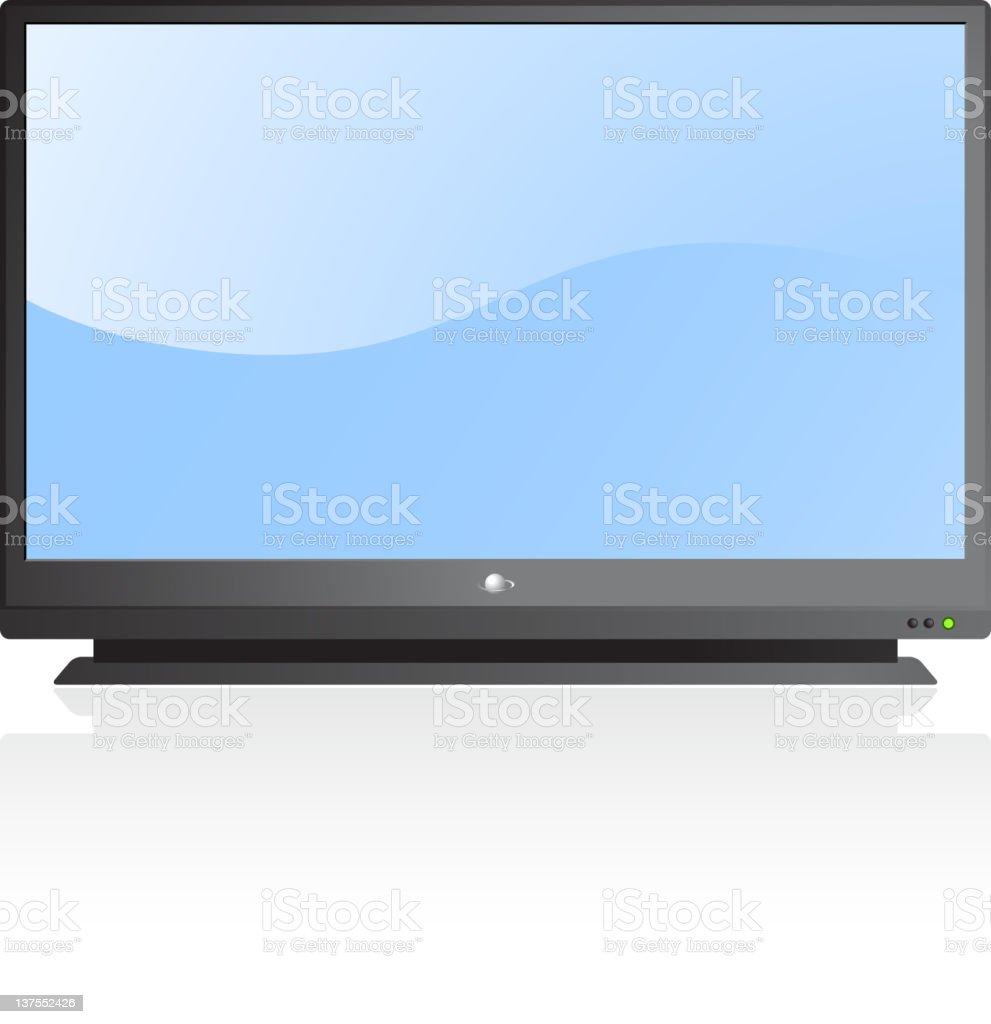 Flat screen television vector art illustration