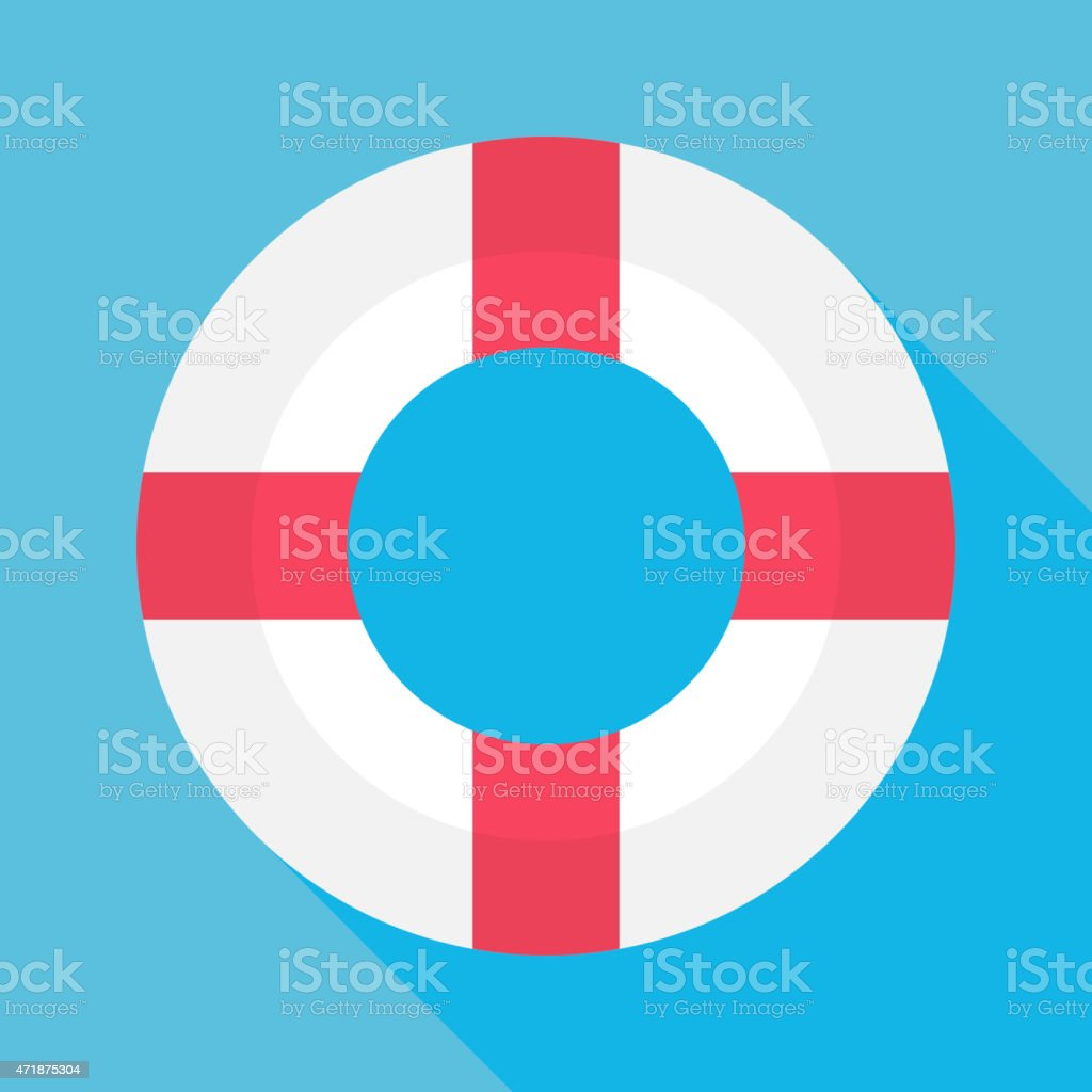 Flat Sea Lifebuoy with Long Shadow vector art illustration