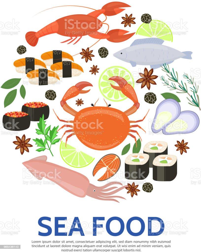 플랫 해산물 라운드 개념 - 로열티 프리 건강한 식생활 벡터 아트