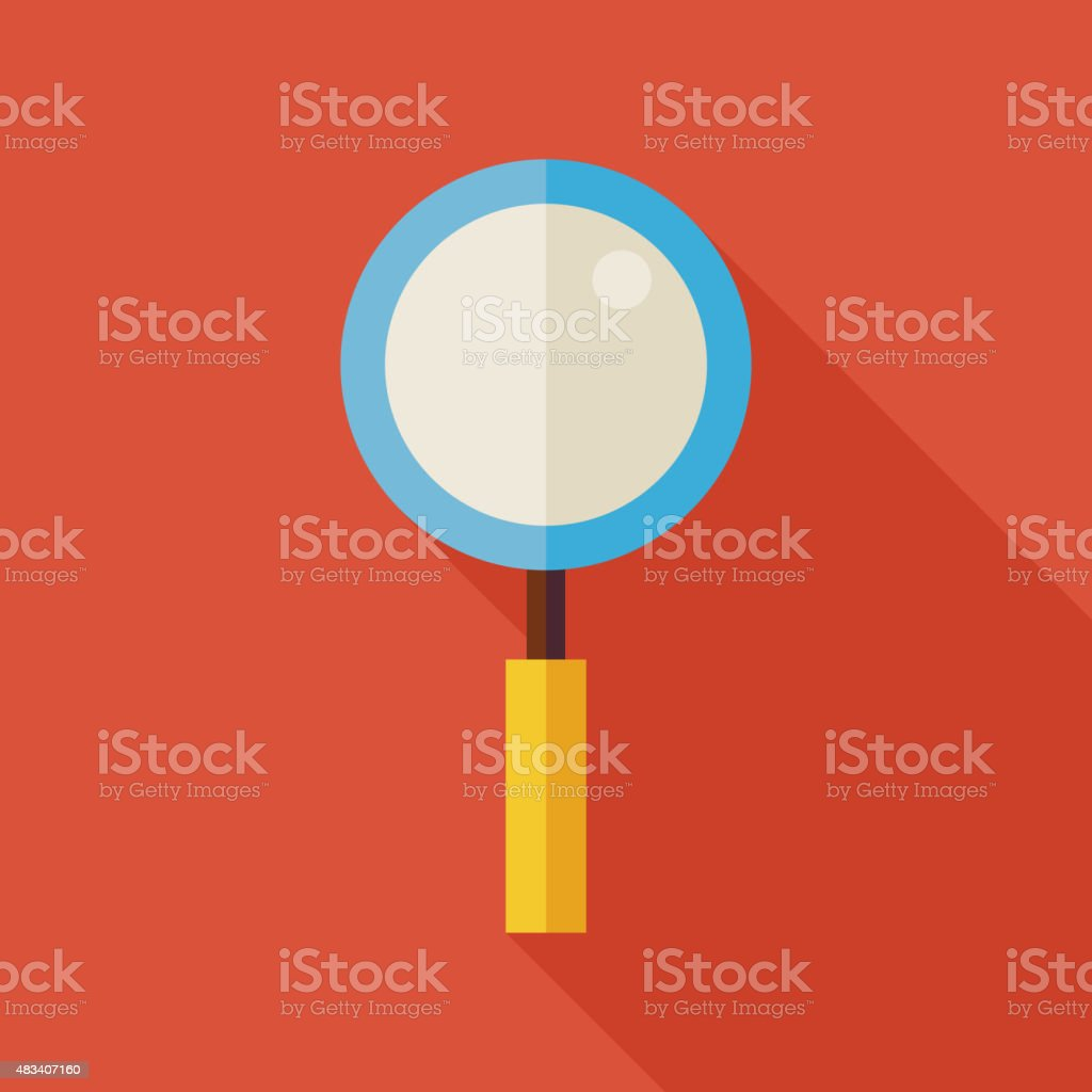Flat Search Magnifying Glass Illustration with long Shadow vector art illustration