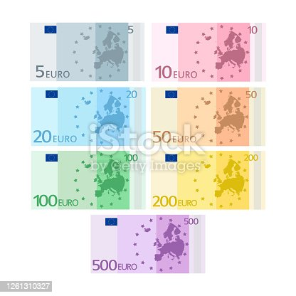 istock Flat set euro for paper money. Business concept. 1261310327