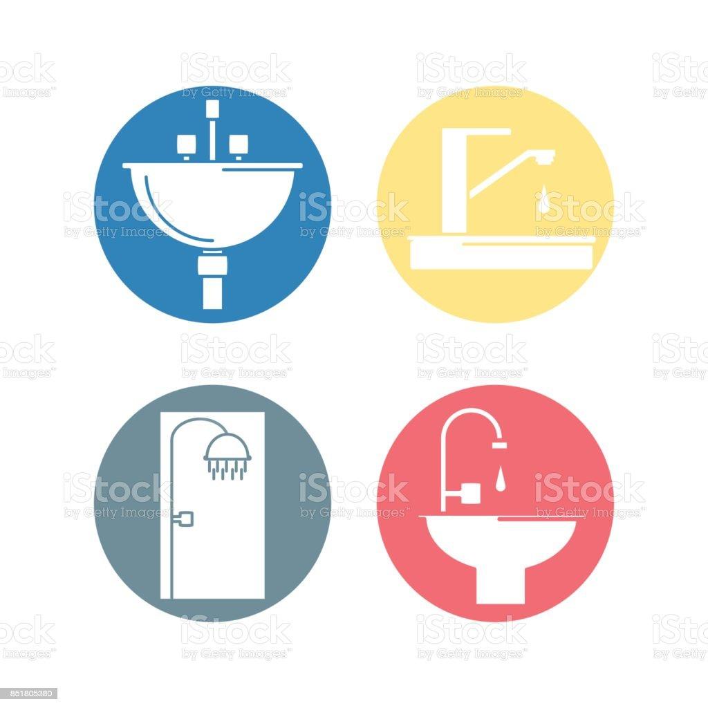 Flat Set Icon Bathroom Design Royalty Free Stock Vector Art