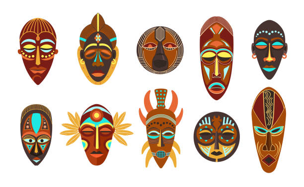 Flat set of colorful african ethnic tribal ritual masks of different shape isolated on white background. Flat set of colorful african ethnic tribal ritual masks of different shape isolated on white background vector illustration. voodoo stock illustrations