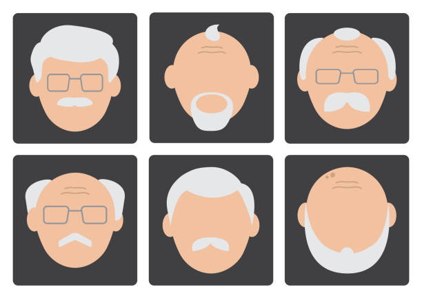 flat set of face old men on gray background, avatar. vector illustration - old man hair stock illustrations, clip art, cartoons, & icons