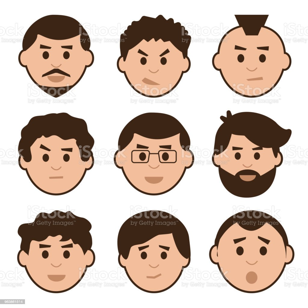 Flat set of men, avatar with different emotions, vector illustration - Royalty-free Adult stock vector