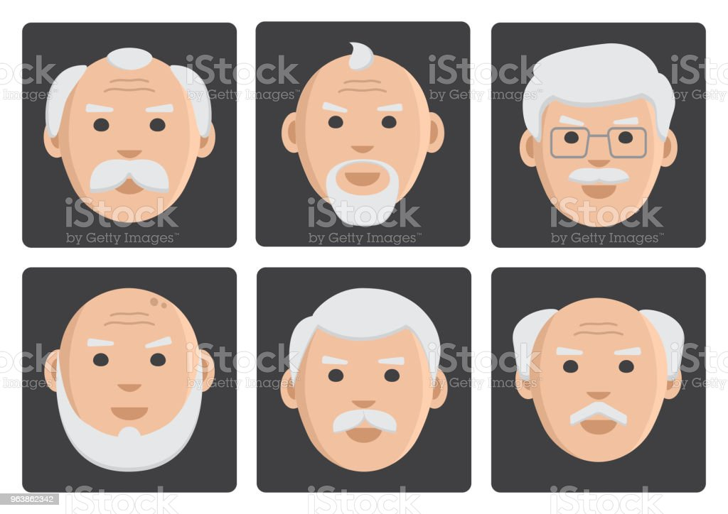Flat set of old men on gray background, avatar, vector illustration - Royalty-free Adult stock vector