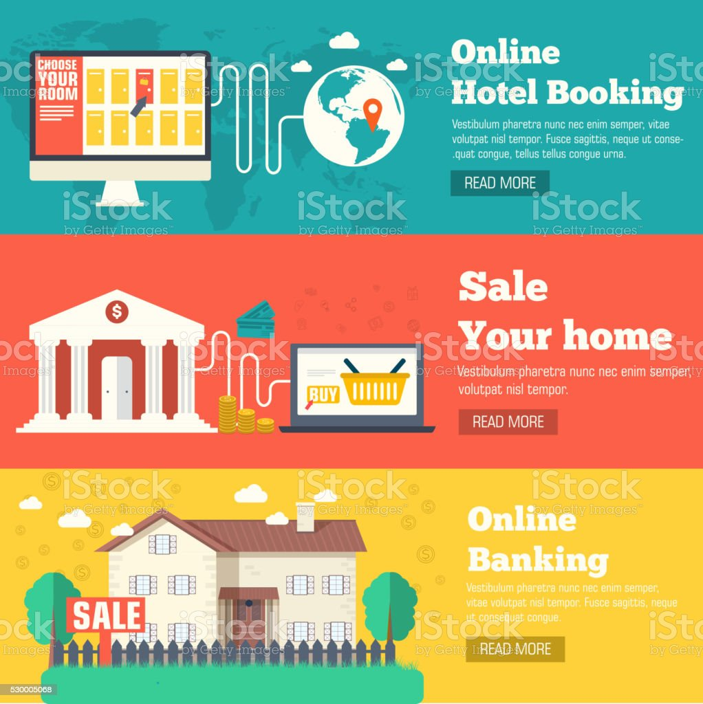 flat set of social business travel, and sale house banners vector art illustration