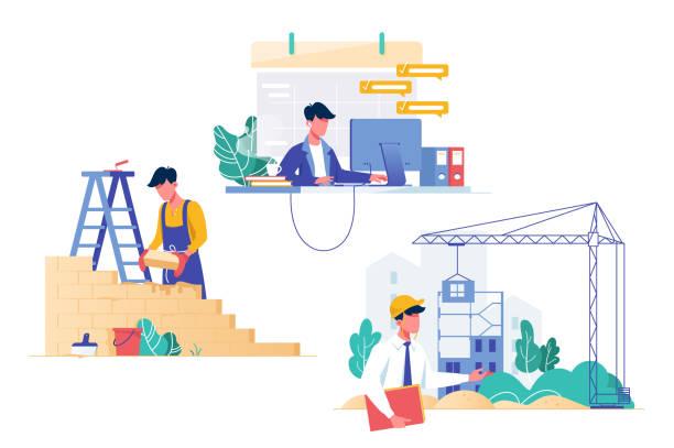 프로그래머, 건축 업자 및 건축가 직업과 평면 집합입니다. - 단정한 사무복 stock illustrations