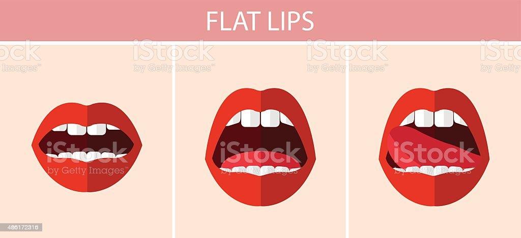 Flat sexy red lips vector art illustration