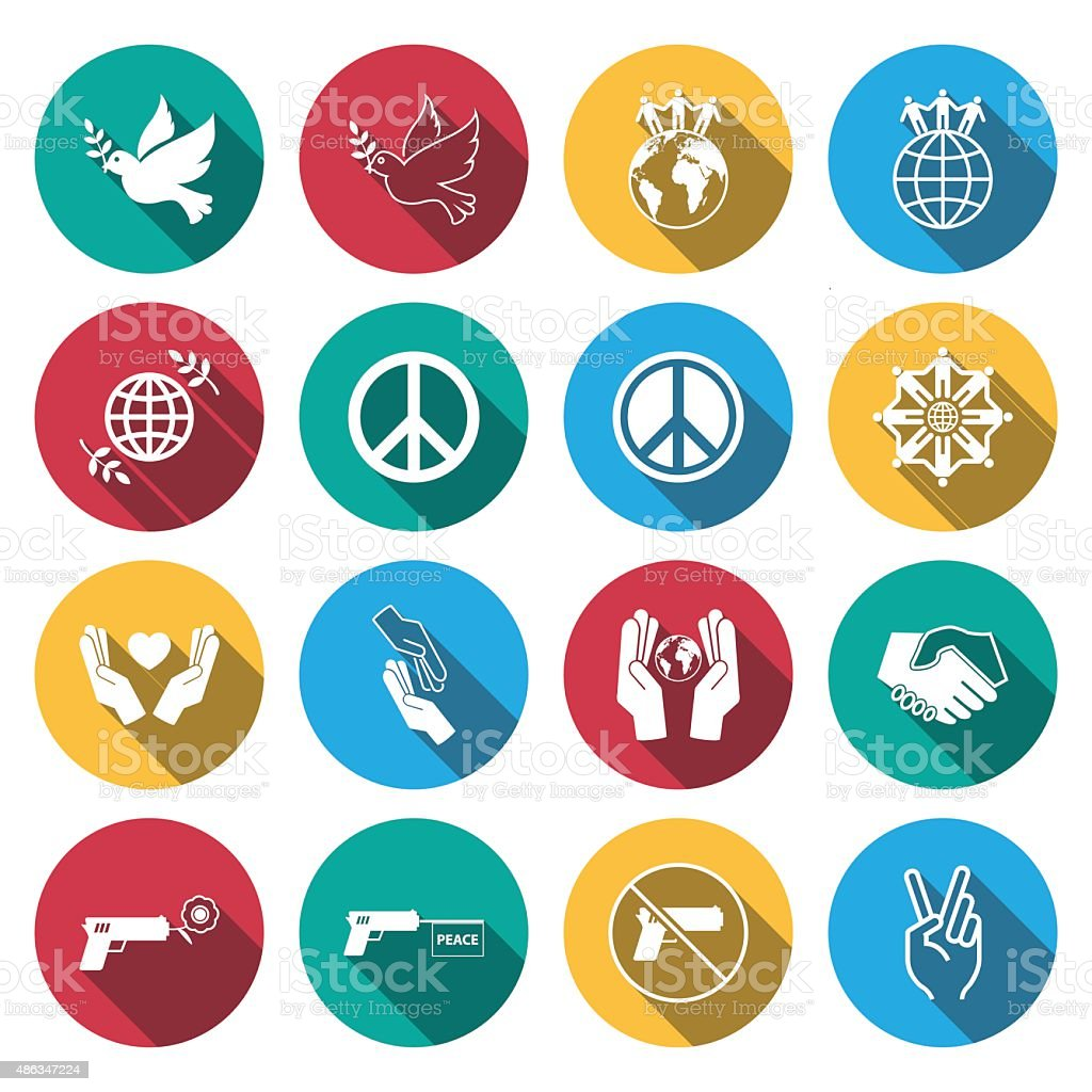 flat shadow peace and love icons set vector art illustration
