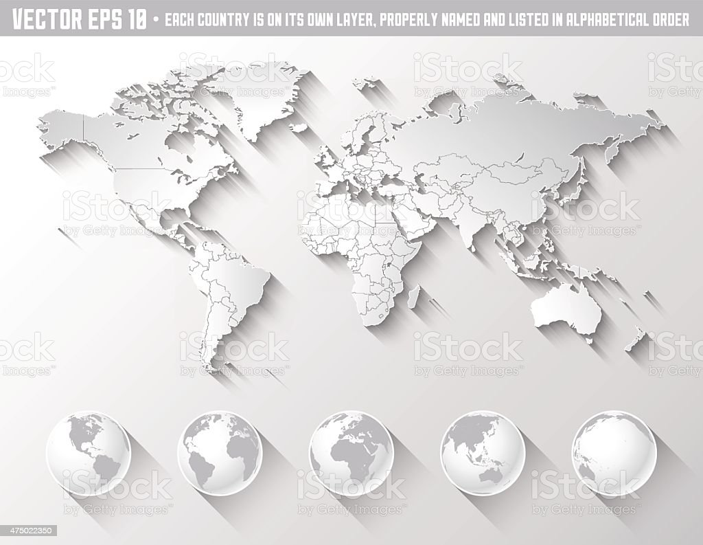 Flat Shadow World map with globes vector art illustration