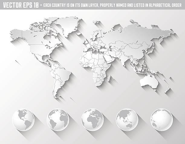 Ombre à la carte du monde avec globes - Illustration vectorielle