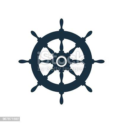 istock Flat ship wheel icon design 967871592